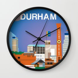 Durham, North Carolina - Skyline Illustration by Loose Petals Wall Clock