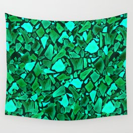 Deep Emerald and Neo Mint Terrazzo Wall Tapestry