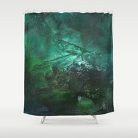 emerald Shower Curtains featuring Emerald by Judy Applegarth