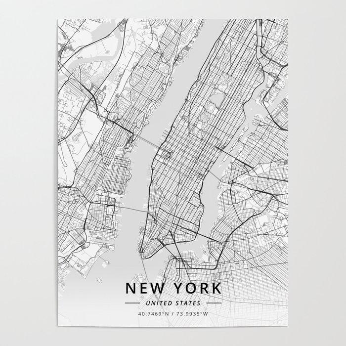 New York United States Light Map Poster By Designermapart Society6