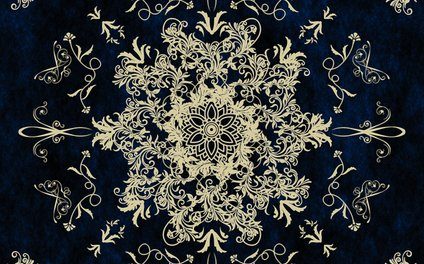 Art Print - Pale Gold Floral Design On A Blue Textured Background - Inspired Images