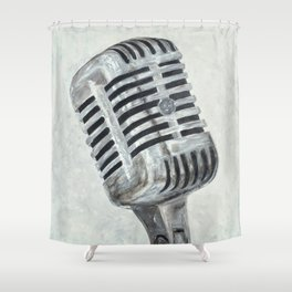 Vintage Microphone Shower Curtain