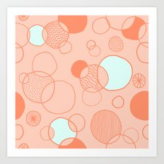 Coral Bubbles (with a hint of mint) Art Print