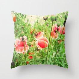 Vintage Poppies Throw Pillow