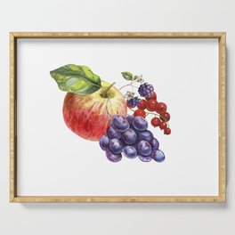Composition of realistic fruits on a white background in vintage style. Apple, blackberry, red curra Serving Tray