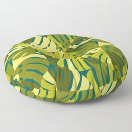 Monstera Leaves in Green Floor Pillow