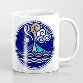 La Vita è Bella – Mediterranean Volcano in Turquoise & Gold Palette Coffee Mug