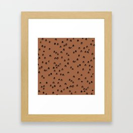 Minimal ink pattern abstract lucky rainbow brush copper Framed Art Print