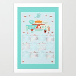 2017 Red and Turquoise Calendar Art Print