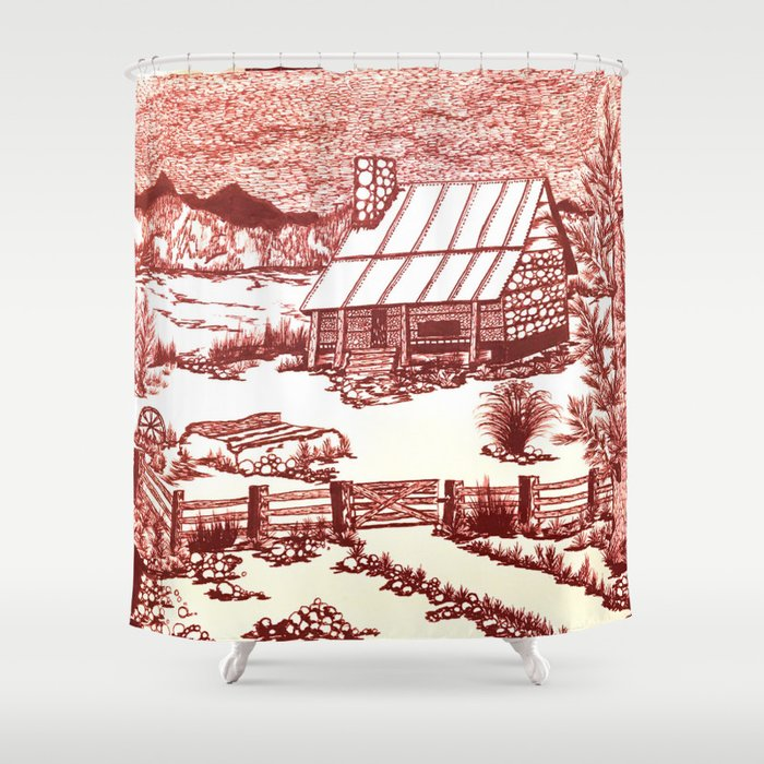 Mountain Cabin Rustic Shower Curtain