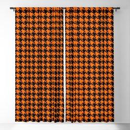 PreppyPatterns™ - Cosmopolitan Houndstooth - black and orange Blackout Curtain
