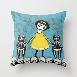 Day of the Dead Cats - Yellow Throw Pillow
