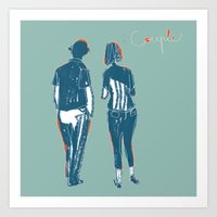 couple Art Prints featuring Couple by Thomas Campi