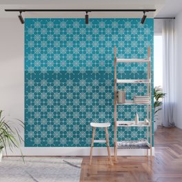 Portuguese Tiles of Lisboa in Blue with Glitch Wall Mural