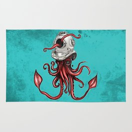 Squid with Diving Helmet Rug