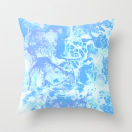 Dreamy blue sea. Delicate moody abstract texture design with cool lovely pastel pearl cobalt lapis tones palette. Lovely subtle liquid glamorous abstraction. Throw Pillow