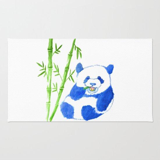 Panda eating bamboo Watercolor Print Rug