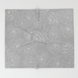 Peony Flower Pattern II Throw Blanket