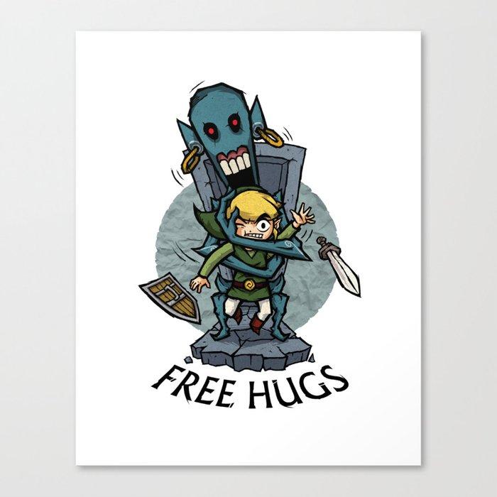 Legend of Zelda Wind Waker FREE HUGS T-Shirt Canvas Print