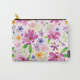Whimsical Girly Flower Pattern Carry-All Pouch