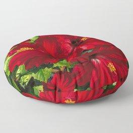 Red Hibiscus 18 Floor Pillow