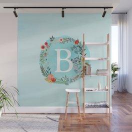 Personalized Monogram Initial Letter B Blue Watercolor Flower Wreath Artwork Wall Mural