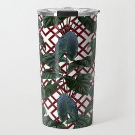 Palm on Woven Lattice Pattern - White Burgundy Gold Travel Mug