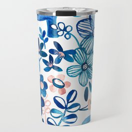 Blush Pink, White and Blue Elephant and Floral Watercolor Pattern Travel Mug