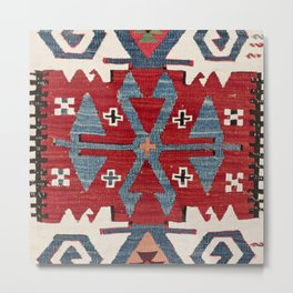 Blue Diamond Arrow Konya II // 19th Century Authentic Colorful Red Cowboy Accent Pattern Metal Print