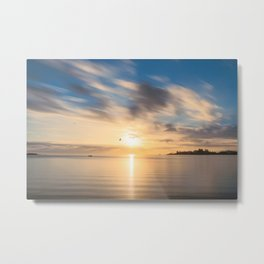 Birds flying at golden hour at Anse Vata Bay in New Caledonia Metal Print