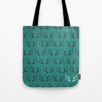 antlers Tote Bags featuring Antlers by hannahclairehughes