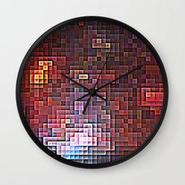 Burgundy Nebula Pixels Wall Clock