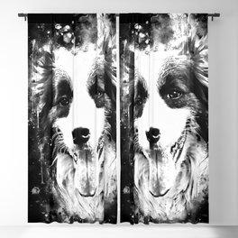 border collie shepherd dog splatter watercolor white Blackout Curtain
