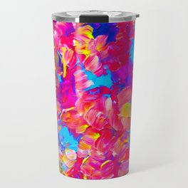 FLORAL FANTASY Bold Abstract Flowers Acrylic Textural Painting Neon Pink Turquoise Feminine Art Travel Mug