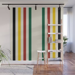 Rustic Lodge Stripes Black Yellow Red Green Wall Mural