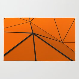 Orange low poly displaced surface with black lines Rug