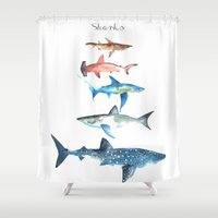 sharks Shower Curtains featuring Sharks by Amee Cherie Piek