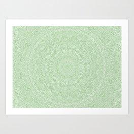 The Most Detailed Intricate Mandala (Green Olive Lime) Maze Zentangle Hand Drawn Popular Trending Art Print
