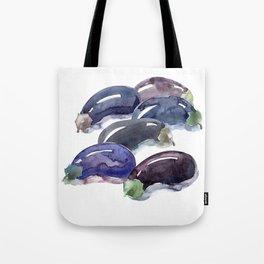 Eggplant. Six aubergine. Egg-shaped fruit purple colored. Brinjal,guinea squash. Harvest. Tote Bag