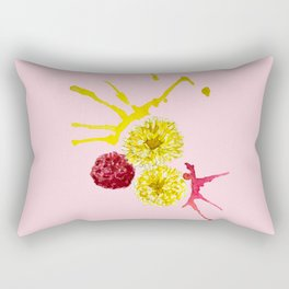 watercolor pink and yellow flowers Rectangular Pillow