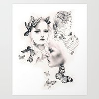 gemma Art Prints featuring Gemma Ward by KatePowellArt