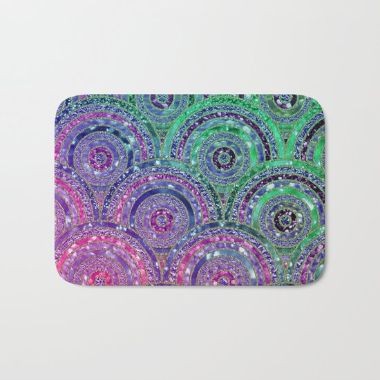 Pink Purple Blue and Green Sparkling Glitter Circles and Dots Bath Mat