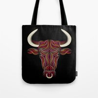bull Tote Bags featuring BULL by Patrick Seymour
