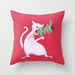 Funny Fat White Cat Eats Christmas Tree Throw Pillow