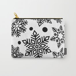 Snow Flakes Christmas Bauble - Black & White Carry-All Pouch