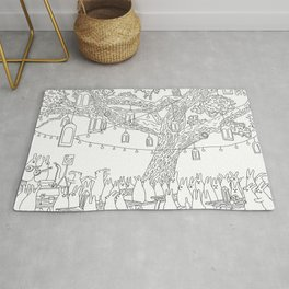 Dancing under Lights of Night - line art Rug