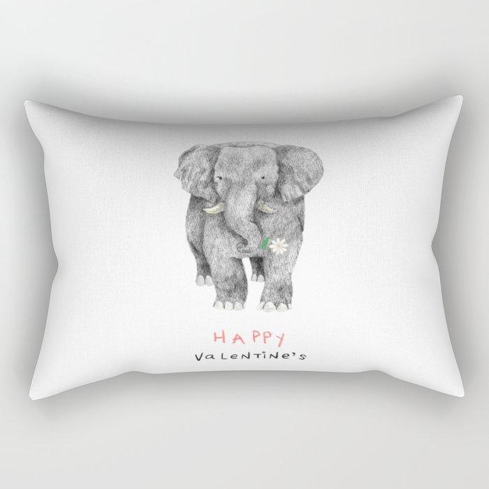 Happy Elephant Gives You a Daisy Rectangular Pillow