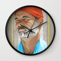 steve zissou Wall Clocks featuring Steve Zissou Life Aquatic  by Soren Barton