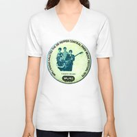 talking heads V-neck T-shirts featuring Central Park talking heads 1979 by Del Gaizo
