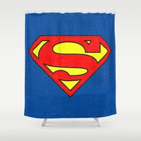 superman Shower Curtains featuring Superman by Alisa Galitsyna
